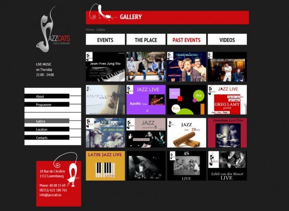 Website of Jazzcats club & restaurant