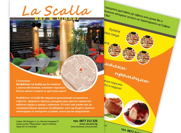 Flyer of La Scalla Restaurant