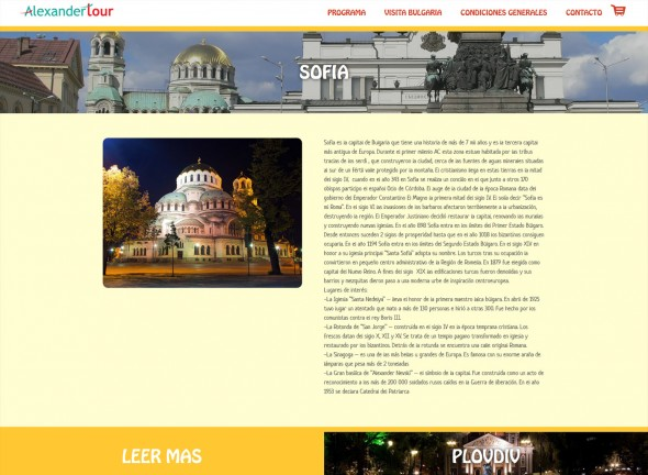 Landing page in Spanish for tourism programs