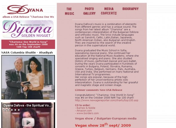 Personal website for the singer - Dyana Dafova 1