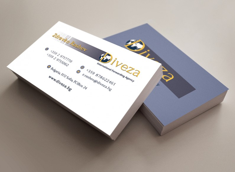 Design and print of business cards for Diveza 2