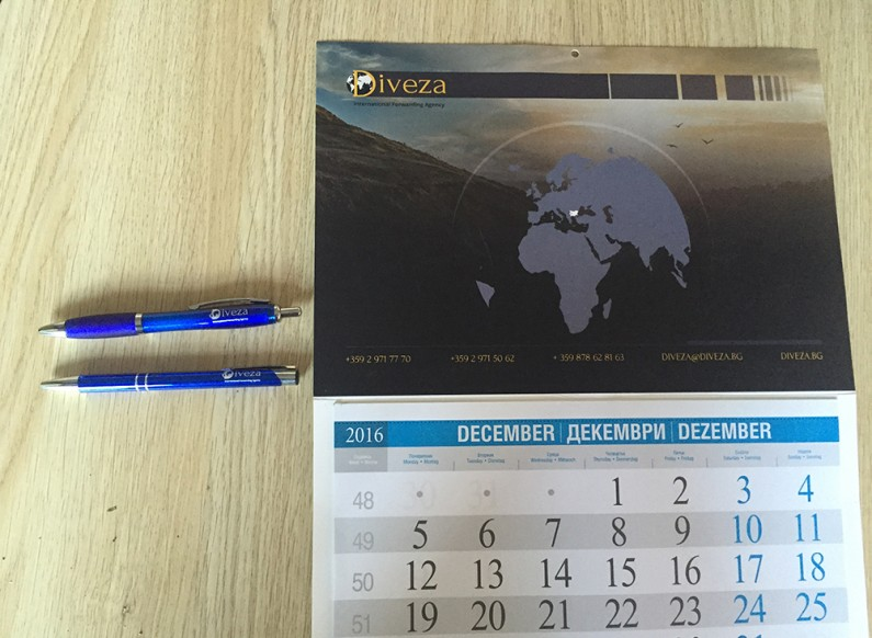 Design branded pens and calendars for Diveza
