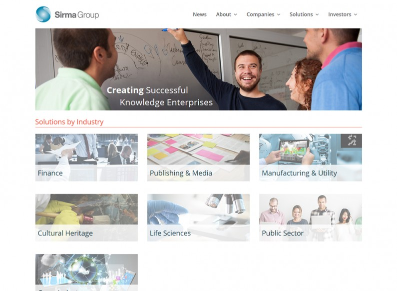Creating a corporate representative website for Sirma Group Holding