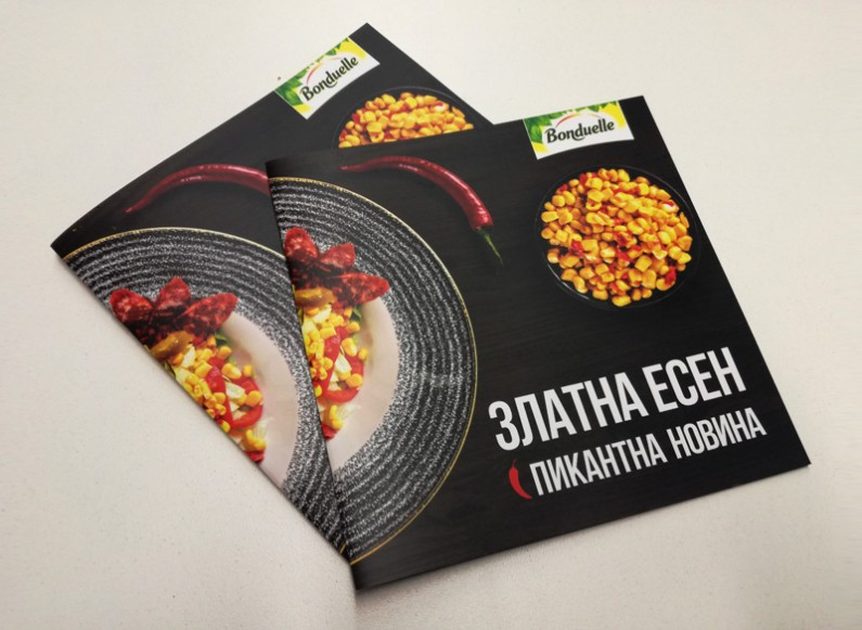 Adaptation of recipe book and a wheel with spicy levels for Bonduelle Corn Chilli campaign