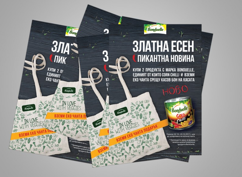 Adaptation of key vision and prepress advertising materials for Bonduelle Corn Chilli campaign