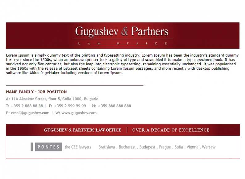 Vision of corporate signature in Outlook for Gugushev & Partners