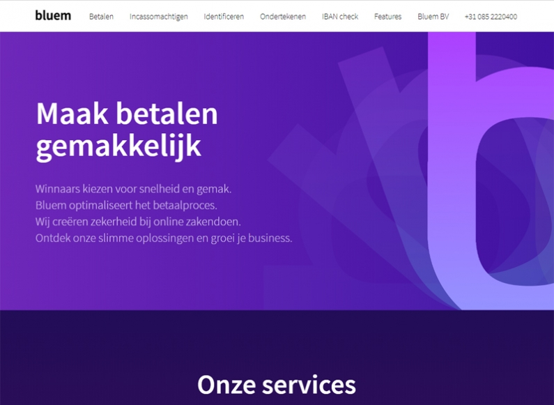 Re-design of our Dutch partner`s site - Bluem