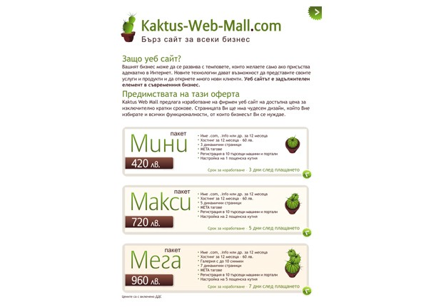 Kaktus-Web-Mall - брошура